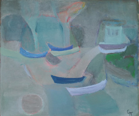 Blue boats - painting by Snejina Popgencheva