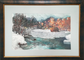 The beginning of winter - a watercolor painting by Ivan Stratiev