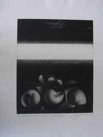 Still life by the sea - etching / paper